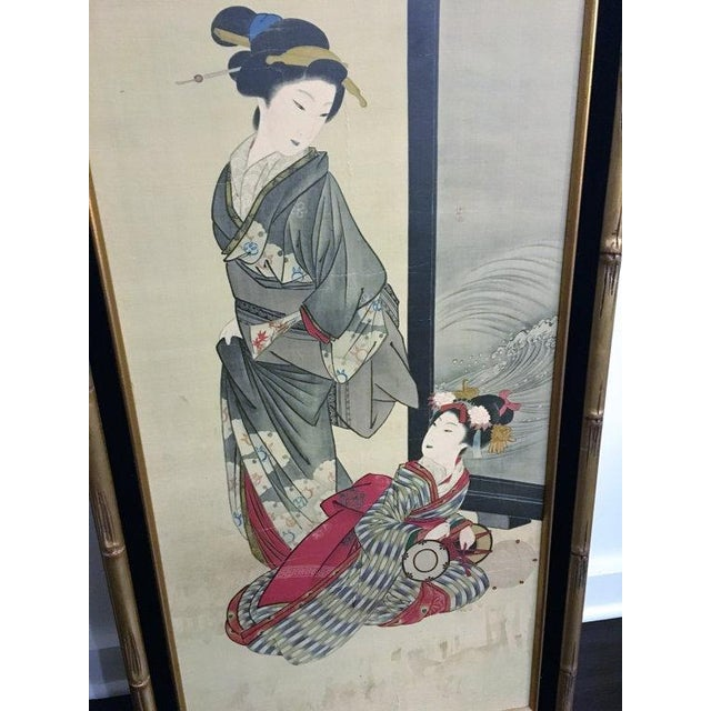 Chinese Gold Bamboo Geisha Paintings - Pair - Image 4 of 5