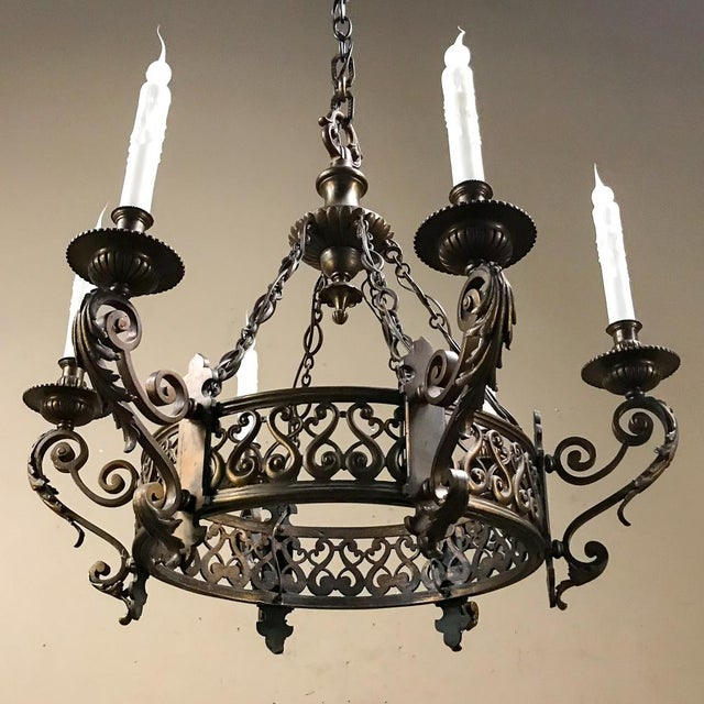 Antique French Louis XIV Bronze Chandelier For Sale In Dallas - Image 6 of 12