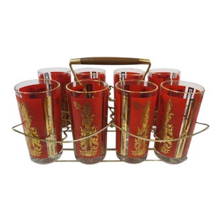 Vintage 1970s Mid-Century Modern Red/Gold Tumblers in Carrier - Set of 9 For Sale