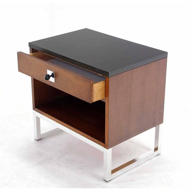 Early 20th Century Pair of Walnut & Chrome Nightstands For Sale - Image 5 of 9