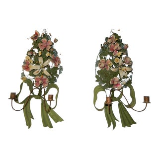 1850s French Tole Flowers & Bows Sconces - a Pair For Sale