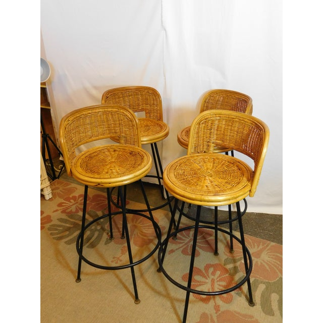 Mid-Century Wicker Bar Stools - Set of 4 - Image 3 of 8