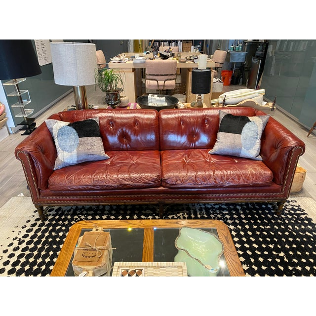 Mid-Century Modern Vintage Tufted Leather Chesterfield Sofa For Sale - Image 3 of 12