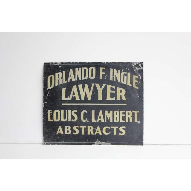 1900's hand painted tin trade sign for lawyer/abstracts. This piece would look great in a library or den.