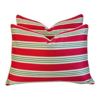 French Stripe Ticking & Velvet Feather/Down Pillows - Pair For Sale