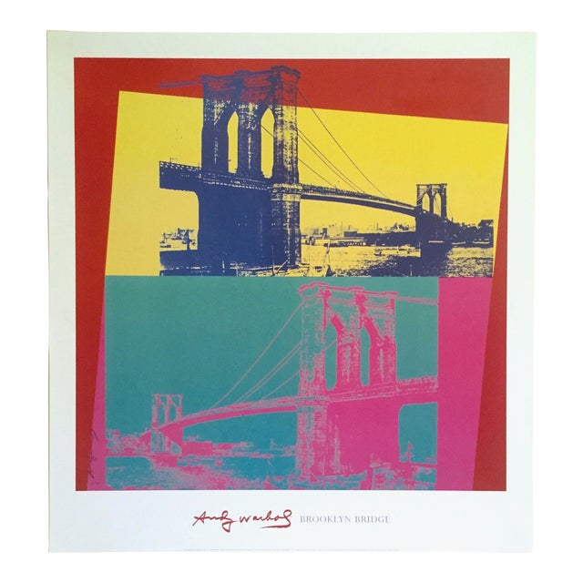 """Andy Warhol Foundation Vintage Pop Art Lithograph Poster """" Brooklyn Bridge """" 1983 For Sale"""