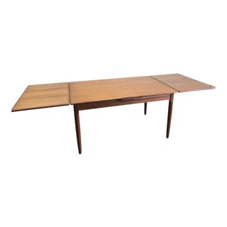 Large Danish Modern Teak Draw Leaf Dining Table For Sale