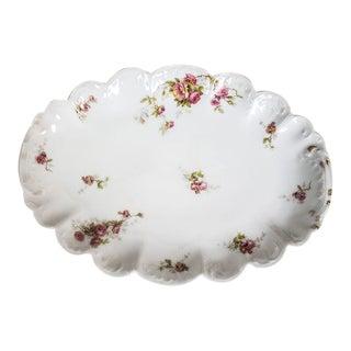 1940s Limoges France Porcelain Platter - Pink Roses For Sale