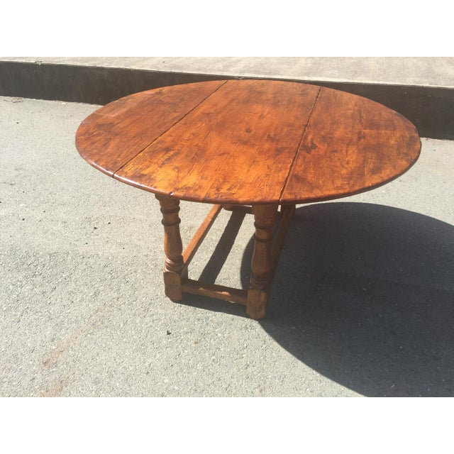 Brown Rustic Oak Drop Leaf Dining Table For Sale - Image 8 of 11