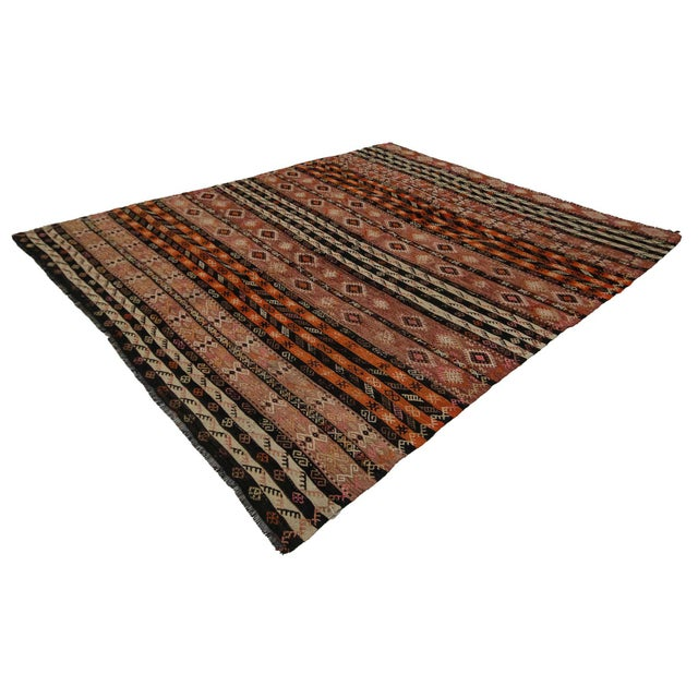 Traditional Embroidered Vintage Kilim Rug- 7′8″ × 9′ For Sale - Image 3 of 7