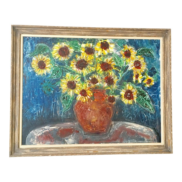 "Large ""Sunflower"" Painting by Trieste - Image 1 of 6"