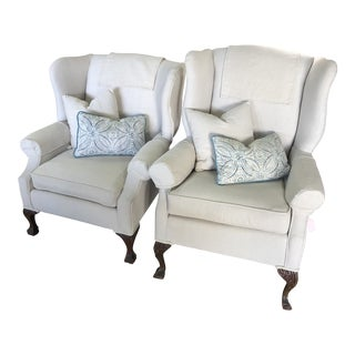 1940s Vintage Claw Foot Reupholstered Wing Chairs- A Pair For Sale