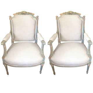 French Style Painted Wood Armchairs - A Pair