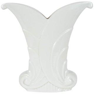 Art Deco Skyscraper Style White Porcelain Scroll Form Vase by Abingdon For Sale
