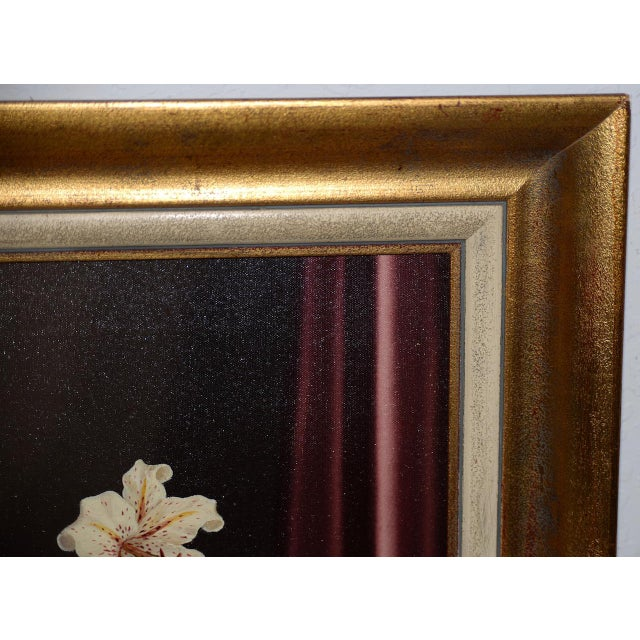 Canvas Tilly Moes (1899-1979) Still Life W/ Lilies C.1950 For Sale - Image 7 of 10