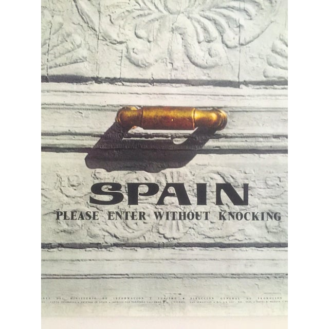 """Vintage Mid Century Rare """" Please Enter Without Knocking """" Collector's Spain Travel Poster For Sale - Image 9 of 13"""