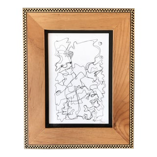 Original Small Wayne Cunningham Contemporary Abstract Ink Drawing Wood Frame For Sale