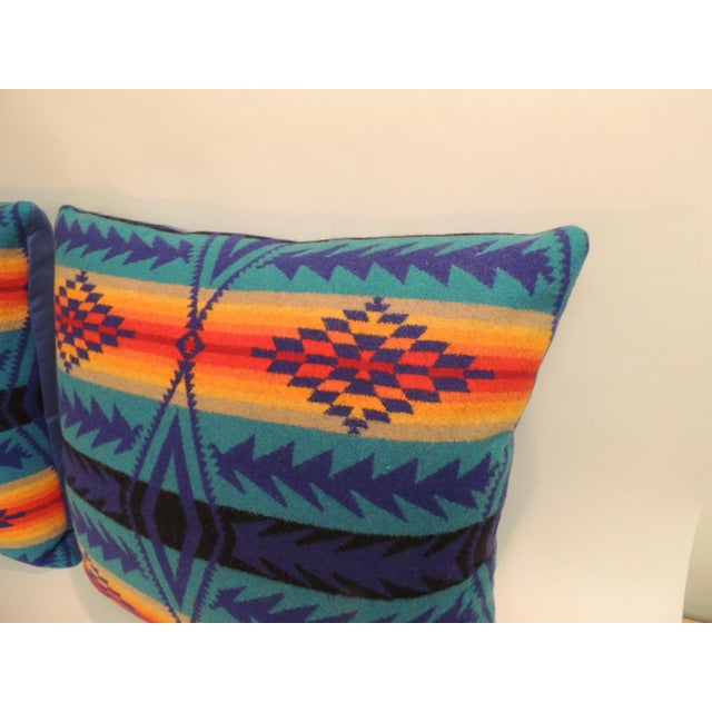 Pair of vintage Pendleton Southwest style large decorative pillows Decorative pillows handcrafted from Pendleton wool with...