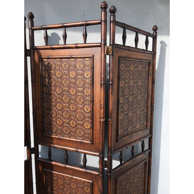 Victorian Arts and Crafts Victorian Faux Bamboo Tile Mosaic Room Divider Privacy Screen For Sale - Image 3 of 11