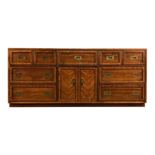 Mid-Century 9-Drawer Dresser / Credenza ~ Campaign Style For Sale