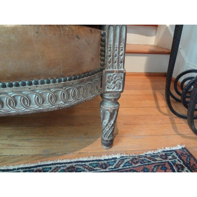 Leather Antique French Louis XVI Style Bergere With Distressed Leather Upholstery For Sale - Image 7 of 13