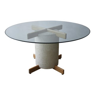Postmodern Minimalist Oak and Plaster Dining Table Base For Sale