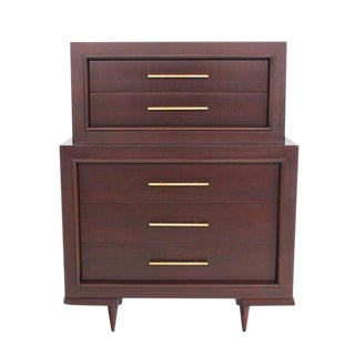 Five Drawer High Chest with Long Solid Brass Cylinder Pulls For Sale