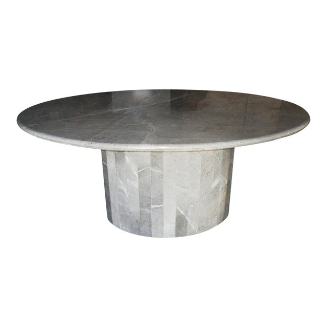 Vintage 1970s Italian Ovoid Marble Dining Table For Sale