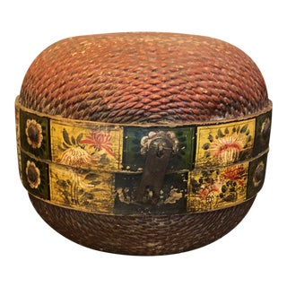 Antique Chinese Woven Willow Marriage Basket For Sale
