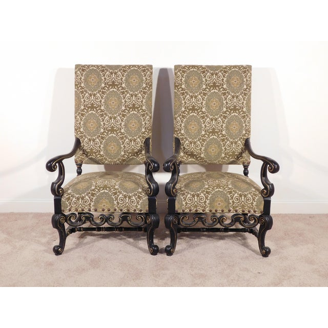 Maitland - Smith Maitland Smith William & Mary Ebony W Gold Gilt Accents Fireside Arm Chairs - a Pair For Sale - Image 4 of 13