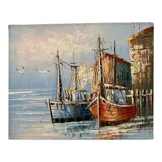 Vintage Signed French Boats in Harbor Painting For Sale