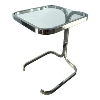 Mid-Century Modern Cantilevered Side Table in Chrome, Italy 1970's For Sale