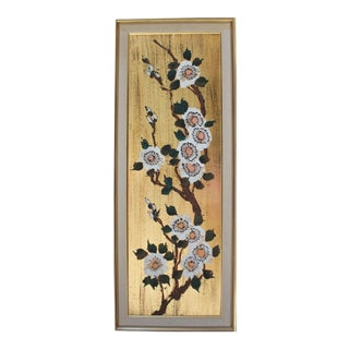 1950s Asian Cherry Blossoms Gold Painting on Board For Sale