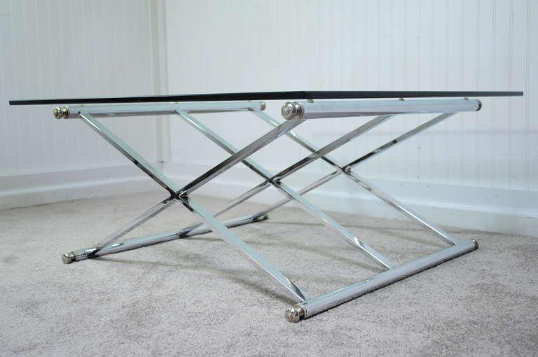 Unique Vintage Triple X Stretcher Base Chrome Coffee Table With Square  Glass Top In The Milo