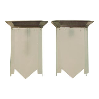 1920s French Art Deco Modernist Frosted Glass Panel Wall Sconces - a Pair For Sale