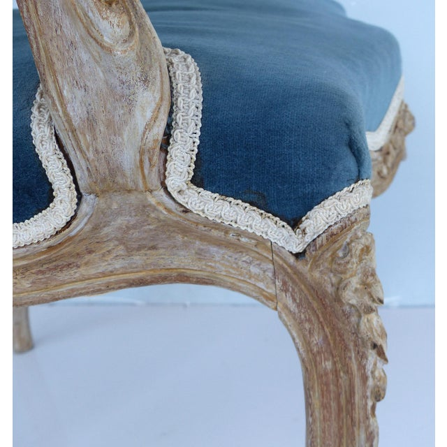 Blue French Limed Louis XV Style Fauteuil Chairs With Velvet Mohair Seats With Trim For Sale - Image 8 of 13