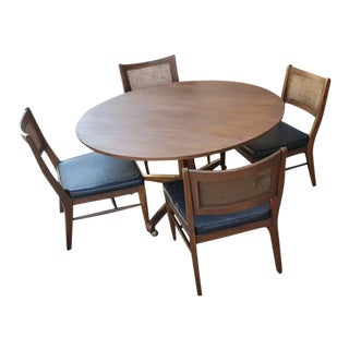 "Mid Century Modern Broyhill Stamped All Original Rattan Back 48"" Round Walnut Dinnette Set - 5 Pieces For Sale"