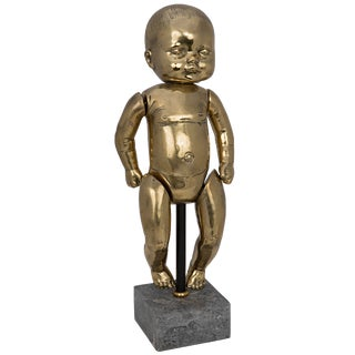 Girl Baby Doll on Stand, Brass For Sale