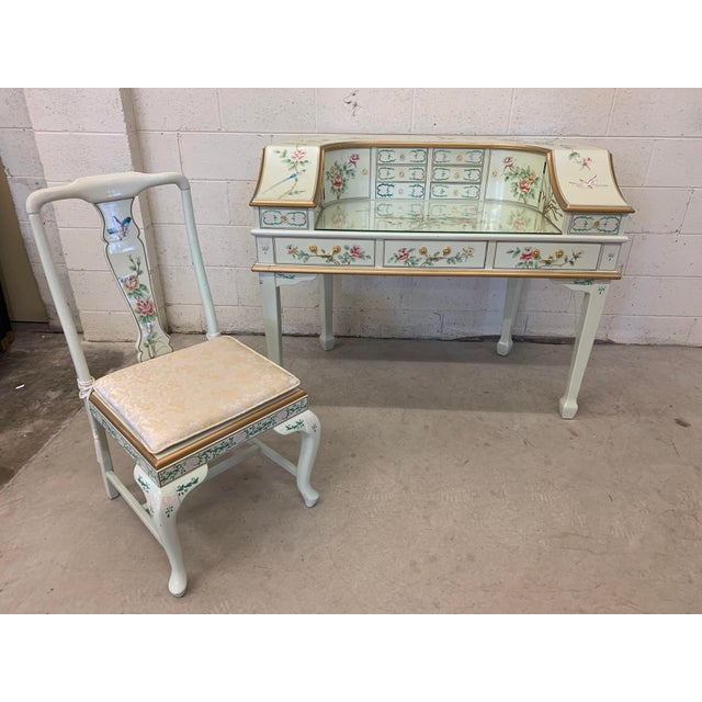 Asian Jasper Cabinet Company Hand Painted Chinoiserie Desk Vanity & Chair For Sale - Image 3 of 13