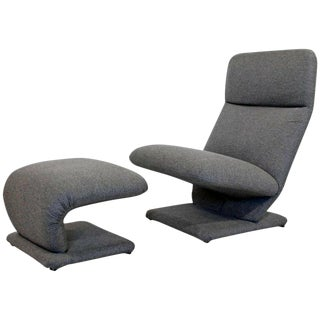 Mid Century Modern Baughman for Dia Cantilever Lounge Chair and Ottoman For Sale