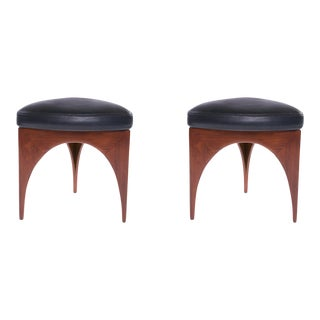 1960s Vintage Allen Ditson Wood and Leather Ottomans- A Pair For Sale