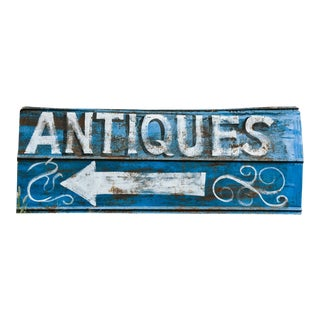 Vintage Hand Painted Antiques Sign For Sale