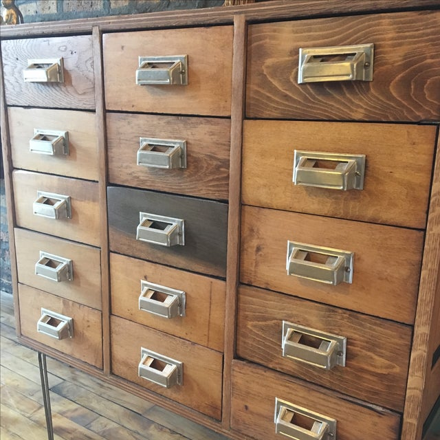 15 Drawer Card Catalog on Hairpin Legs For Sale - Image 9 of 11