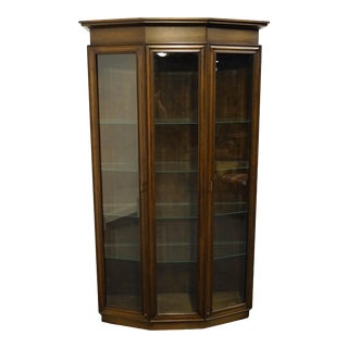 "Contemporary Albright & Zimmerman Walnut 46"" Illuminated Display Curio Cabinet For Sale"