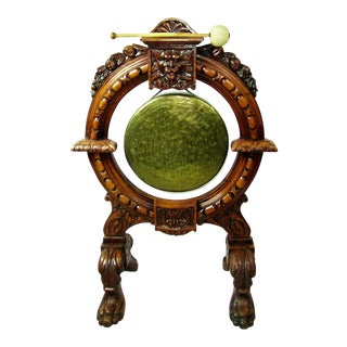 Early 19th Century French Provincial Dinner Gong, Large, Heavily Carved Oak and Brass For Sale