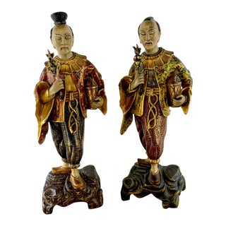 Continental Chinoiserie Giltwood Figures - a Pair For Sale