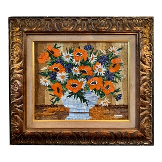 Vintage Signed Glass Mosaic Still Life For Sale