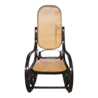 1970s Boho Chic Thonet Bentwood and Cane Rocker For Sale