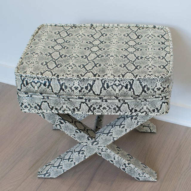 Wood Billy Baldwin Style Python Leather X-Bench Ottoman Footstool For Sale - Image 7 of 13