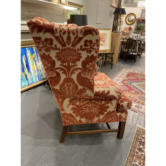 1920s 1920s Vintage Red Wingback Chair For Sale - Image 5 of 7